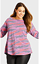 Plus Size Camo Long Sleeve Tee - purple