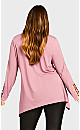 Plus Size Stud Caged Sleeve Top - rose