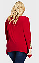 Plus Size Stud Caged Sleeve Top - ruby