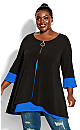Plus Size Tara Tunic black cobalt