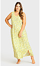 Plus Size Print Maxi Sleep Dress - yellow