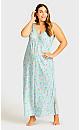Plus Size Lace Floral Maxi Sleep Dress - mint