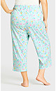 Plus Size Tie Waist Print Sleep Pant - mint floral