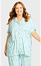 Plus Size Button Up Sleep Top -  mint