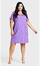 Plus Size Heart Sleep Shirt - purple