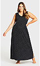 Plus Size Print Maxi Sleep Dress - black spot