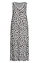 Plus Size Print Maxi Sleep Dress - gray animal