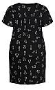 Plus Size Short Sleeve Print Sleep Shirt - black cat