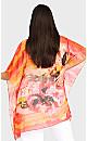 Plus Size Watercolor Poncho - tangerine