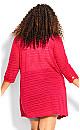 Plus Size Shadow Stripe Cardigan - fuchsia