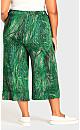 Plus Size Knit Culotte Print Pant - green palm