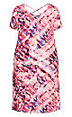 Plus Size Cross Back Water Color Dress Berry