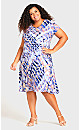 Plus Size Cross Back Water Color Dress Blue