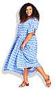 Plus Size Val Print Dress - blue diamond