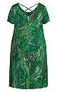 Plus Size Cross Back Print Dress - green palm