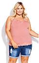 Plus Size Lace Cami Top - rose