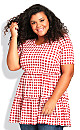 Plus Size Gus Gingham Tunic - red