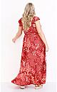 Plus Size Ava Ruffle Hi Lo Maxi Dress - red paisley