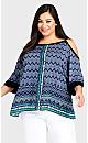 Plus Size Daisy Cold Shoulder Top - blue print