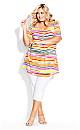 Liv Pleat Print Tunic - multi stripe