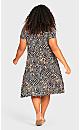 Plus Size Cross Back Knit Dress Animal Leaf Print