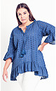 Plus Size Broderie Frill Top - blue
