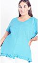 Plus Size Mae Ruffle Top - turquoise