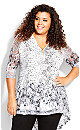 Plus Size Remy Lace Zip Up Top - ivory