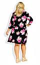 Plus Size Darna Wrap Print Dress - black floral