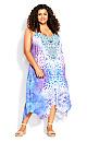 Plus Size Elora Trapeze Maxi Dress - blue print