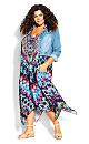 Plus Size Elora Trapeze Maxi Dress - purple print