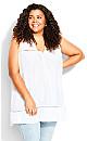 Plus Size Tammy Pintuck Lace Tunic - ivory