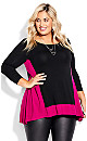 Plus Size Elsa 3/4 Sleeve Tunic - black berry