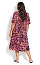 Plus Size Majesty Midi Dress - purple floral