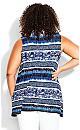 Plus Size Aria Pleat Print Top indigo