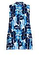 Plus Size Aria Pleat Print Top indigo spot