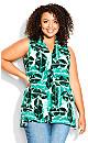 Plus Size Aria Pleat Print Top mint spot