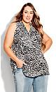 Plus Size Aria Pleat Print Top zebra