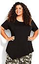 Plus Size Asymmetrical Hem Tunic - black