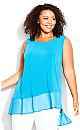 Plus Size Bridget Asymmetrical Tunic teal blue