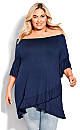 Plus Size On/Off Shoulder Tunic - navy