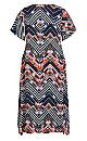 Plus Size Alison Flutter Dress - navy print