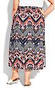 Plus Size Ida Shirred Waist Skirt - navy print