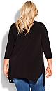 Plus Size Viola Zip Plain Tunic - black