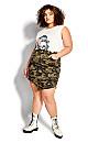 Plus Size Tessa Ripped Skirt - olive camo