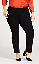 Ponte Knit Tummy Control Pull-On Pant - black