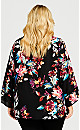 Plus Size 3/4 Sleeve Floral Keyhole Top - black