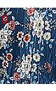 Plus Size Splitneck Floral Pleated Blouse - navy