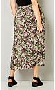 Plus Size Floral Print Chiffon Midi Skirt-Plus Size Skirt