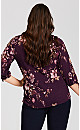 Ribbed Floral Pullover with Tie Sleeve - grape